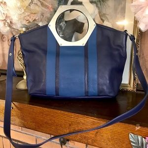 """JONATHAN ADLER BLUE LEATHER """"GOLDIE HEX""""  PURSE"""